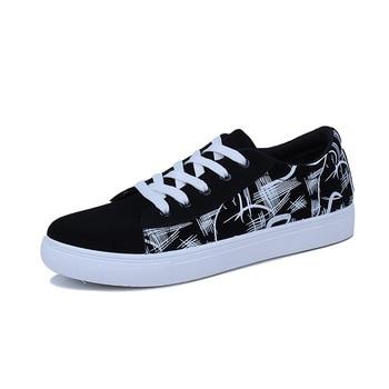 Zapatillas de deporte de moda para hombre, vulcanizados nuevos zapatos, mocasines informales con cordones de corte alto y bajo, zapatos para todas las temporadas, Graffiti, boca poco profunda