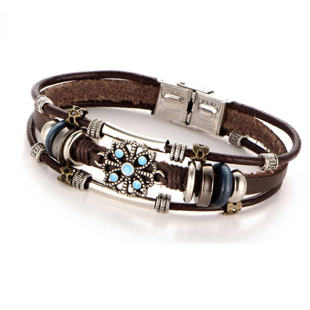 Fajny styl w stylu Vintage kwiat bransoletki i Bangle Boho wielu warstw skórzana bransoletka dla kobiet prezent dla mężczyzny Wrap kobiet biżuteria punkowa