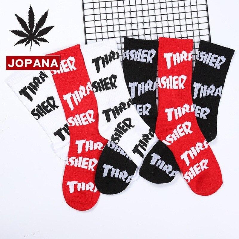 Letter Men Sock Happy Crew Men's Socks Cotton Warm Novelty Japanese Harajuku Casual Black White Fashion Personality Skarpetki