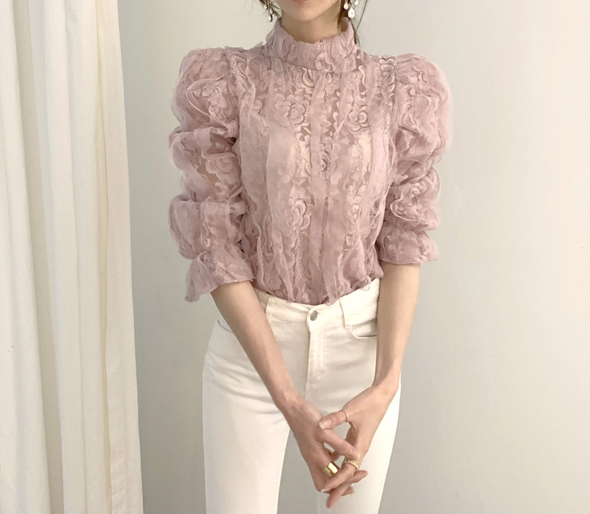 Ha2f0350680a1429da3dcee5bdf0501916 - Spring / Autumn Stand Collar Puff Sleeves Mesh Lace Crochet Flower Blouse