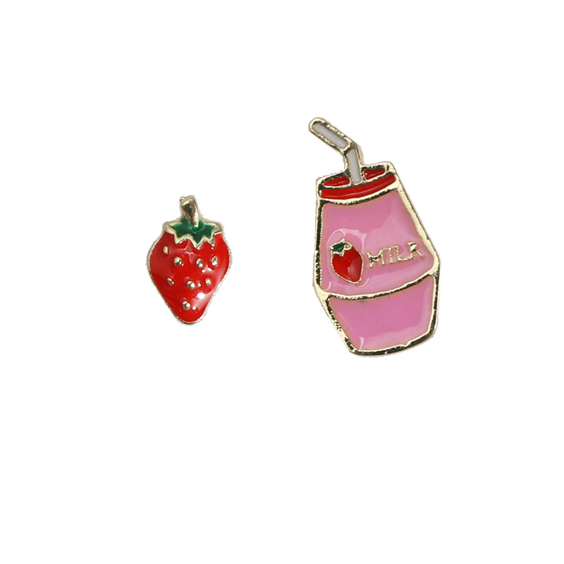 Punk Fashion S925 Needle Earrings New Dongdaemun Imported Wild Ins Girl Strawberry Yakult Net Red Cute Earrings Wholesale