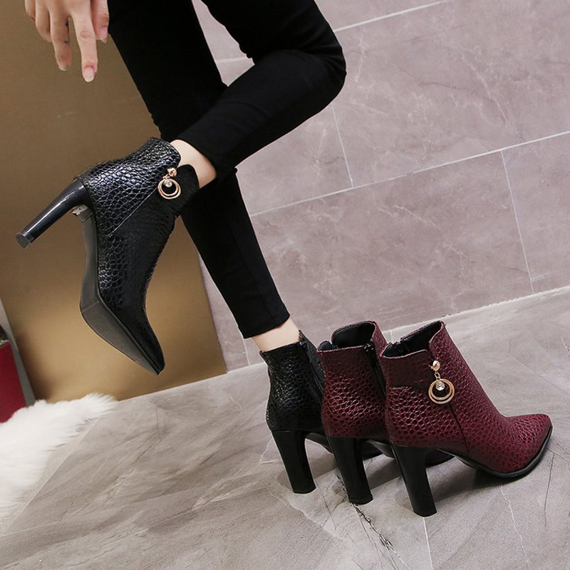 E TOY WORD high heels ankle boots Women Thick heel Autumn pointed toe Booties Female 2019 Fashion Zipper women 39 s boots in Ankle Boots from Shoes