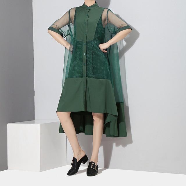 [EAM] Women Green Organza Irregular Shirt Dress New Stand Collar Half Sleeve Loose Fit Fashion Tide Spring Summer 2021 JT581 4