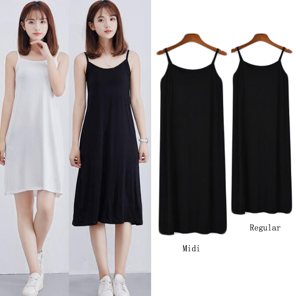 Women Modal Long Slip Dress Black White Sexy Underdress Solid Petticoat Bodycon Camisole Women Intimates Spaghetti Vest Dress