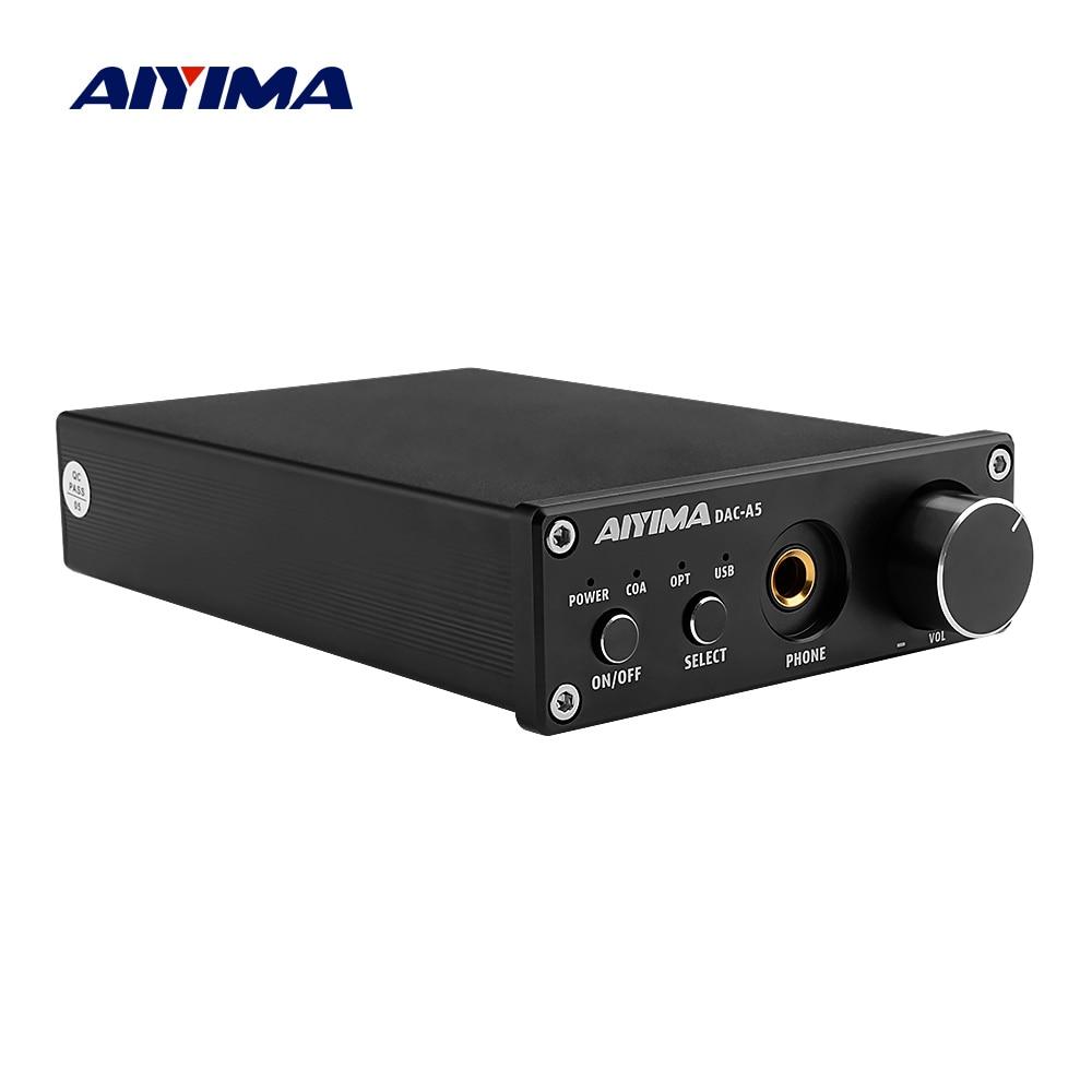 AIYIMA Portable Headphone Amplifier TPA6120A2 USB Coaxial Optical DAC HiFi Audio Decoder Digital Amplifier 24Bit/192KHz