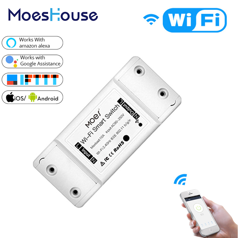 DIY WiFi Smart Light Switch Universal Breaker Timer Smart Life APP Wireless Remote Control Works with Alexa Google Home image