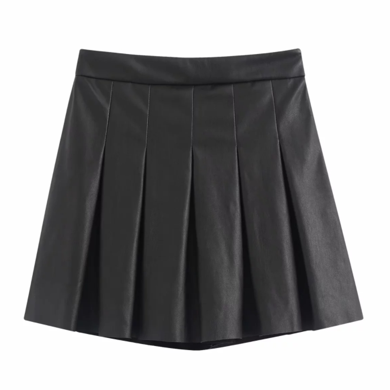 New 2020 Women Leisure Front pleated PU Leather mini skirt faldas mujer ladies casual slim side zipper short skirts QUN534 image