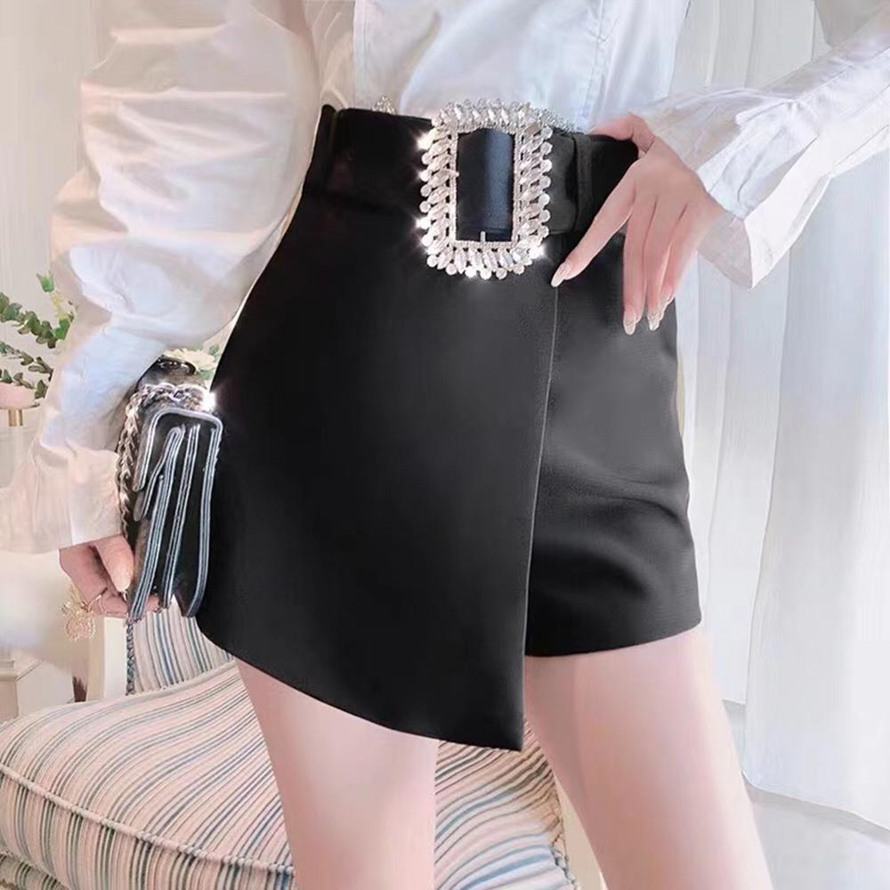 She'sModa Rhinestones Diamonds Suit Fabric Spring Summer Women's A-Line Mini Shorts Skirts