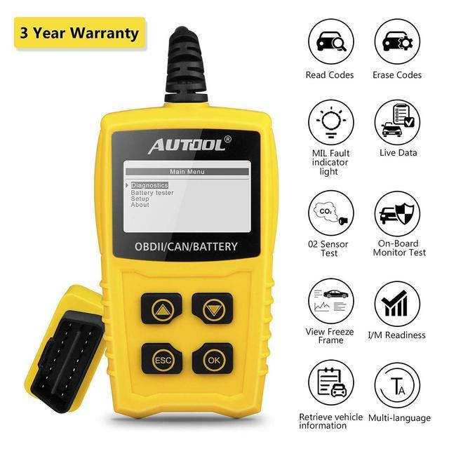 AUTOOL – outil de Diagnostic automobile CS330 12V, lecteur de Code OBD2 II, pour testeur de moteur automobile, batterie, pour SUV, VAN Diesel
