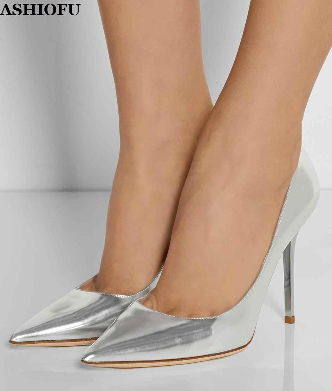 ASHIOFU sıcak satış el yapımı Stiletto kadın ofis ve kariyer Slip-on ayakkabılar sivri burun akşam kulübü moda pompalari mahsek ayakkabı