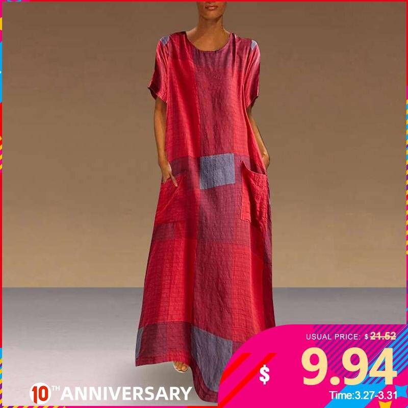 VONDA Bohemian Dress Women Casual Vintage Patchwork Plaid Maxi Dress 2020 Summer Beach Sundress Plus Size Long Party Dresses