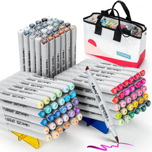 90 Colors Alcohol Brush Markers, Arrtx OROS Brush & Chisel Tips Art Markers with Portable Woven Bag for Beginners and Artist