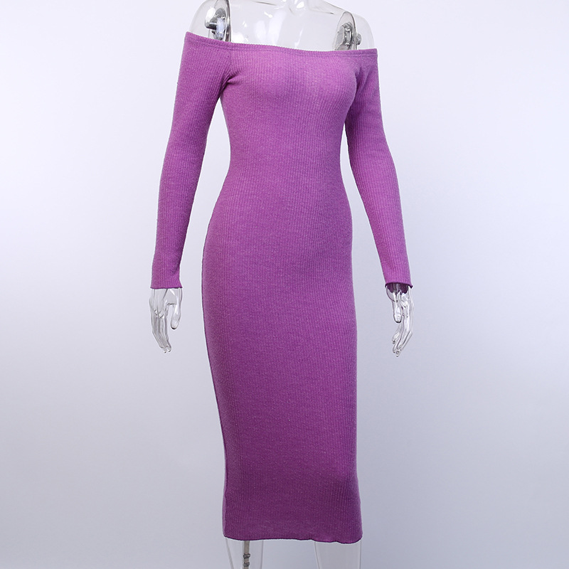 Off Shoulder Ribbed Knitted Long Sleeve Bodycon Midi Dress 15