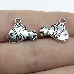 WYSIWYG 8 шт 16х14 мм золотые рыбки тропические рыбки Подвески для изготовления ювелирных изделий античные серебряные цвета рыбные Подвески очар...