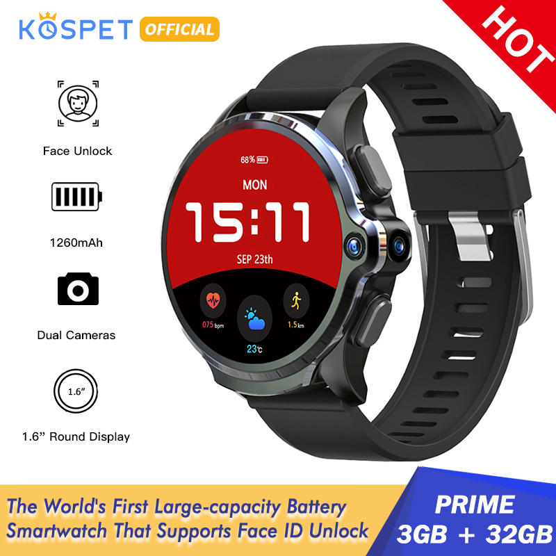 "KOSPET Prime 3GB 32GB Smart Watch Men 1260mAh Camera Heart Rate Face ID 1.6"" 4G Android smartwatch GPS Connect Android IOS Phone(China)"