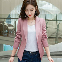 Temperament professional womens suit Casual autumn long-sleeved slim ladies pink blazer Business office jacket 3 colors 2019