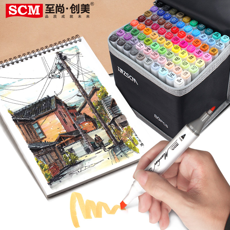 Painting and Sketching Coloring 60 Colors ZSCM Dual Tips Alcohol Based Markers Pens with Case Art Twin Adult Permanent Marker for Drawing