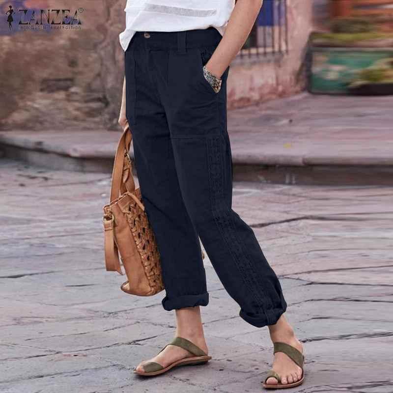 Artı boyutu kadın dantel tığ pantolon 2020 ZANZEA zarif düz pantolon rahat fermuar Pantalon Palazzo kadın düz şalgam