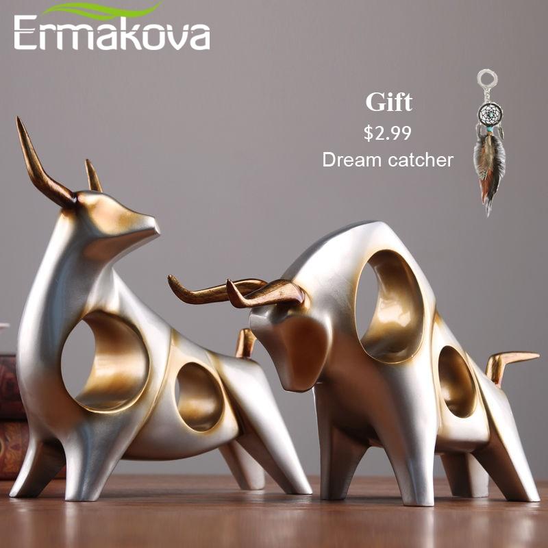 Ermakova gado estátua boi casa decoração sala de estar touro escultura vinho gabinete tv ornamento artesanato abstrato animal estatueta