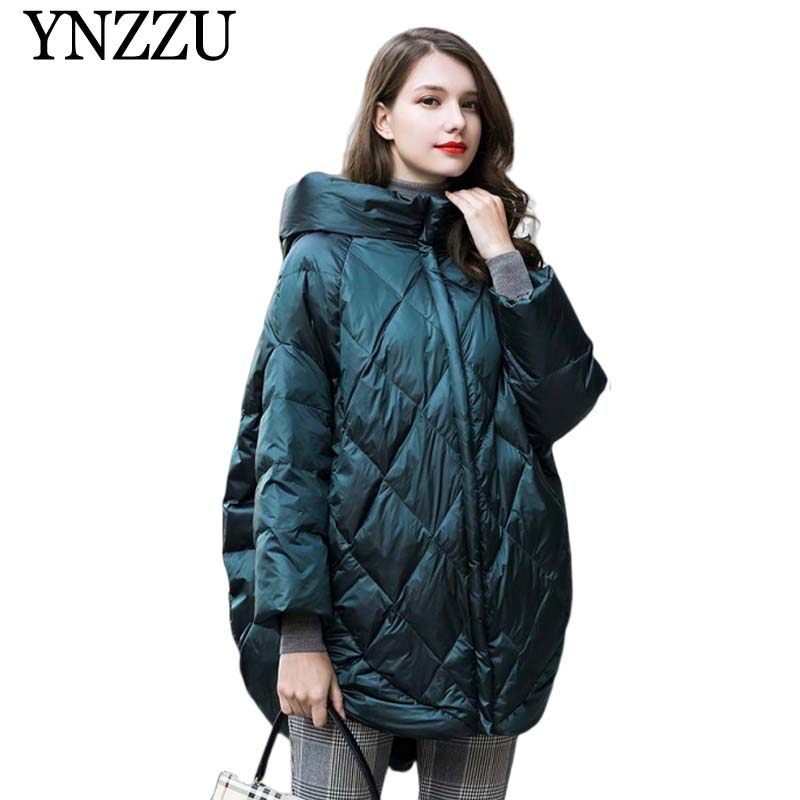 Solid Oversize Hooded Women down jacket 2019 Winter thick warm long down coat Green black loose fashion Overcoat YNZZU YO953