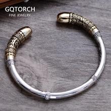Genuine 925 Sterling Silver Jewelry Vintage Cuff Bracelets Men Monkey King Golden Cudgel High Polished Top Quality