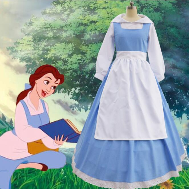 Beauty and the Beast Cosplay Costume Princess Belle Costume with Maid Dress