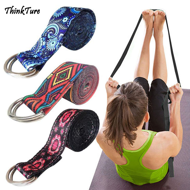 Women Yoga Stretch Strap Multi-Colors Printed D-Ring Buckle Belt Gym Exercise Rope Waist Leg Resistance Fitness Bands Yoga Belt