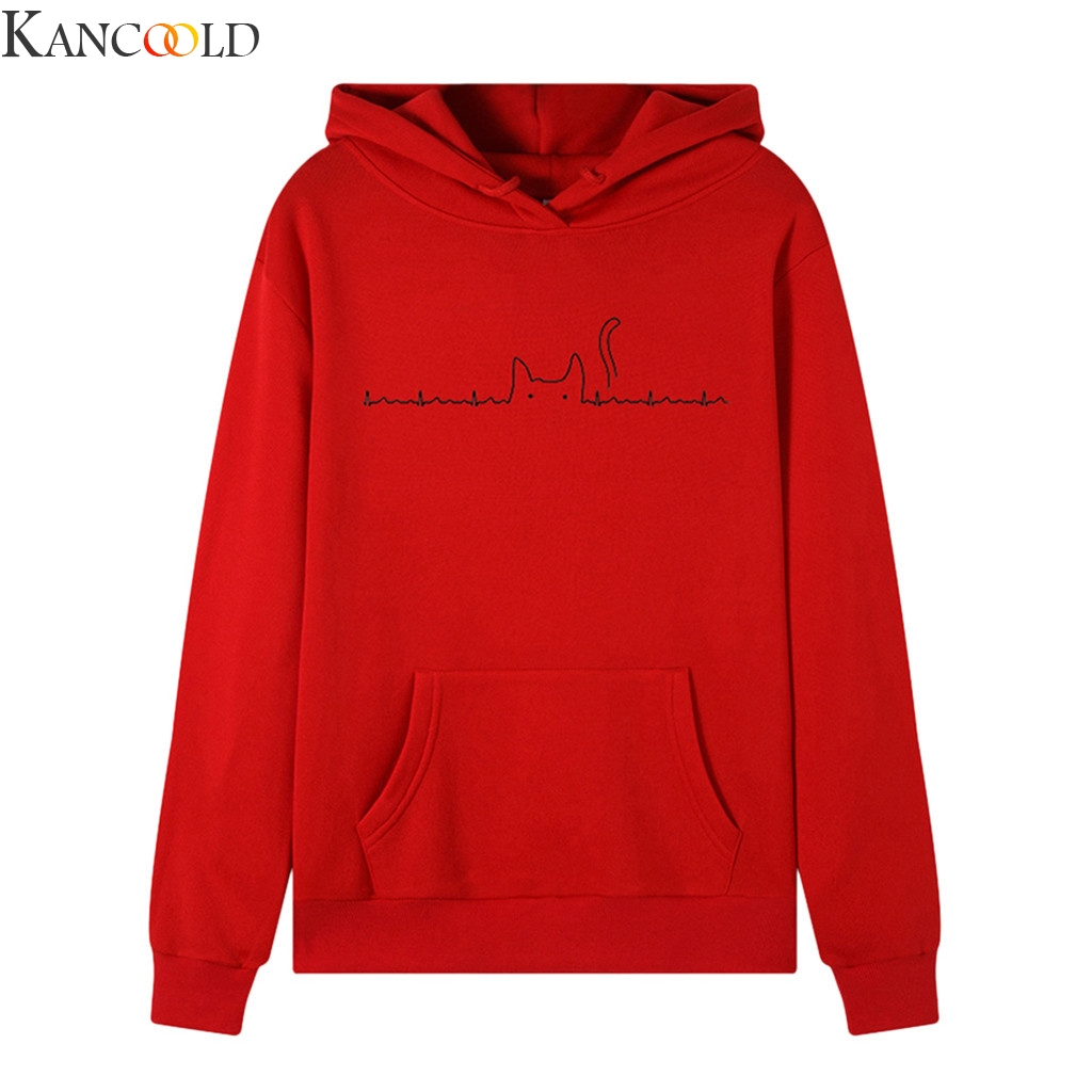 KANCOOLD Women Sweatshirt  Long Sleeve Pattern Print Hooded Autumn&Winter Blouse Lady Tops Hoodie Sweatshirt Fashion Tops