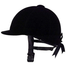 Sombrero ecuestre cómodo de color negro, sombreros de equitación de terciopelo, gorro para casco de equitación transpirable con lazos para mujer.