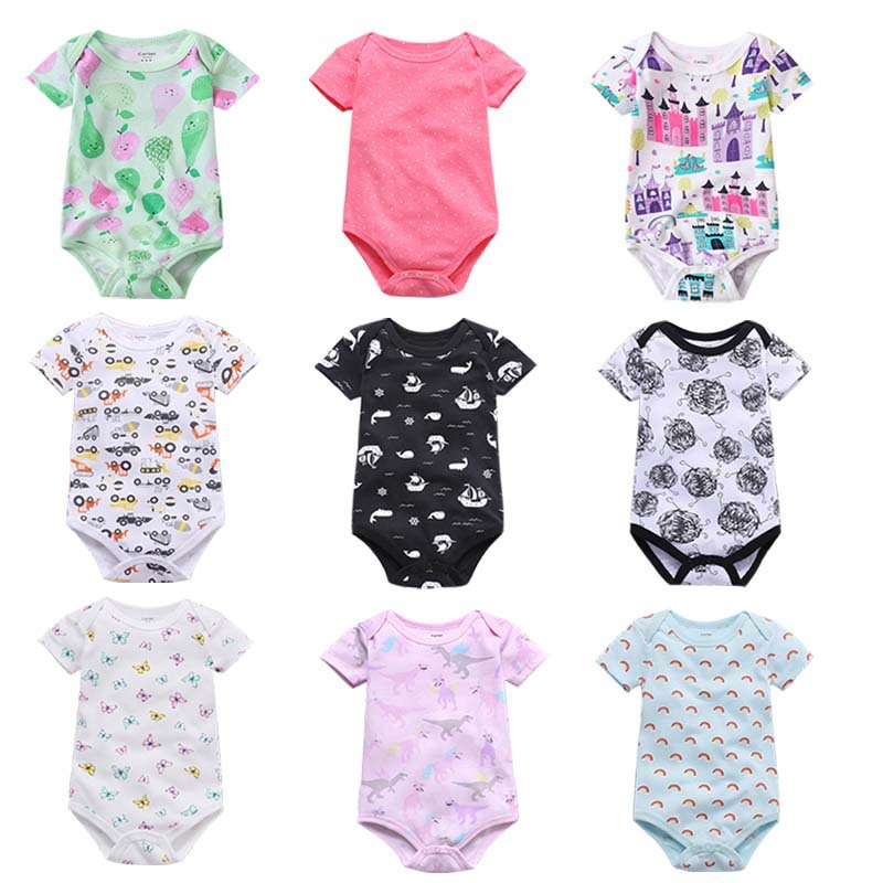 Newborn Baby Girls Bodysuit Short-Sleeve Onesie Burning Poker Print Outfit Winter Pajamas