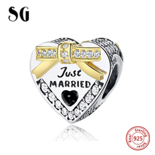Sterling Silver 925 Love Heart Charm beads Fit Original Pandora Bracelets Berloque Authentic pendant DIY Fashion Jewelry
