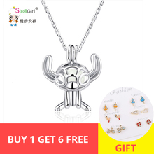 StrollGirl New 100%925 Sterling Silver Cute Animal Tree Bear Shining Pendant Necklace Valentines Day Gift Free Shipping