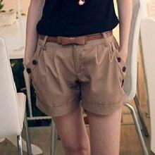 Womens Shorts Casual Pantalon Mid-Waist Corto Verano Solid Mujer England-Style Py20-%