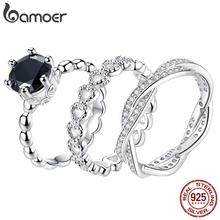 Bamoer modny klasyczny srebrny pierścionek minimalistyczny prosty miłość na zawsze serce koło pierścień biżuteria damska oryginalny Design GO7223