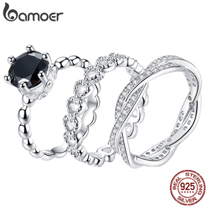 Image 1 - bamoer Trendy Classic Silver Ring Minimalist Simple Love Forever Heart Circle Ring Female Fine Jewelry Original Design GO7223