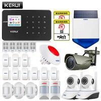 KERUI GSM G18 home alarm with motion detector sensor prevent the pet solar siren ndoor outdoor security cameras wireless kit