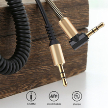 3.5mm 오디오 케이블 스프링 벤드 남성 남성 개폐식 오디오 케이블 1.8M aux 자동차 오디오 케이블