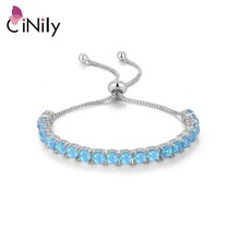 CiNily Prong Setting Fire Opal Bracelets Bohemia Silver Plated Fashion Jewelry Bracelet for Women Jewelry Birthday Fashion Gift