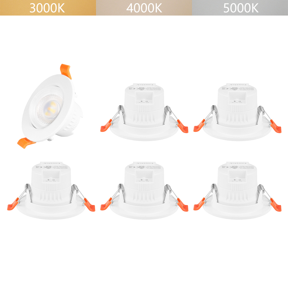 5W LED Tiltable Ceiling Recessed Spotlights Spot LED Downlights Beam Angle 38° CCT Selectable 3000K 4000K 5000K Not Dimmable