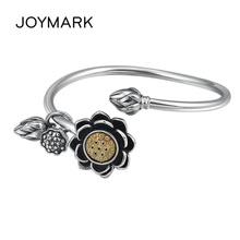 Rotating Lotus Flower Women Retro Thai Silver Bangle Adjustable Open Bracelet S925 Sterling Silver Jewelry TSB512
