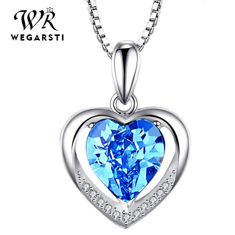 WEAGRSTI Women's 925 Silver Jewelry Necklaces Blue Pink Love Heart Pendant Necklace With Birthstone Fine Jewelry Drop Shipping