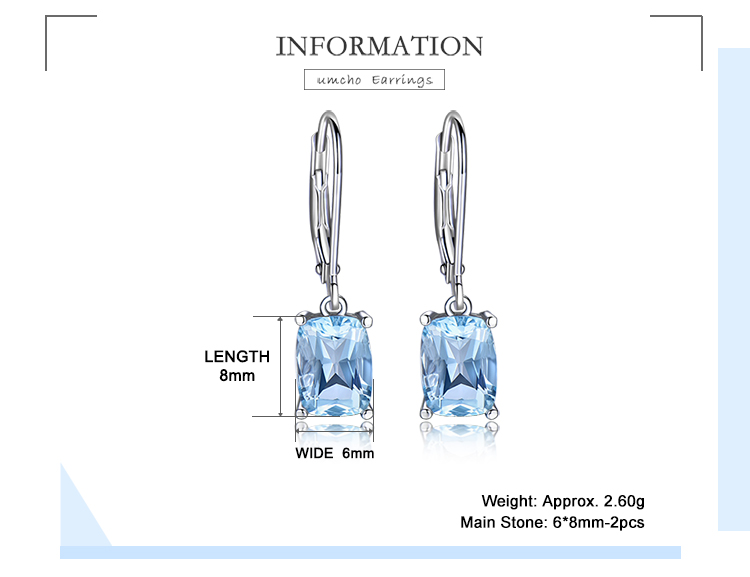 Ha2f1dc5a6b0241cfb58dc6282089a6e1L - UMCHO Genuine 925 Sterling Silver Sky Blue Topaz Drop Earrings Elegant Gemstone Wedding Engagement Jewelry For Women Gifts