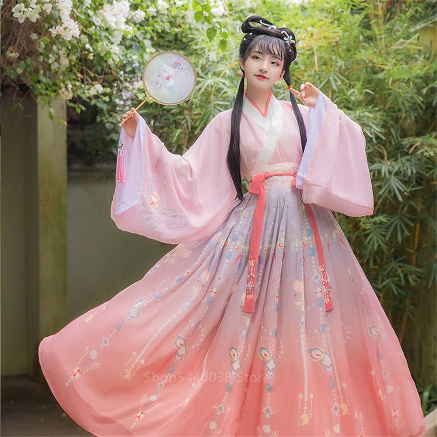 Nowe kobiety Hanfu tradycyjna chińska odzież festiwal strój haft starożytny ludowy występ na scenie kostiumy do tańca