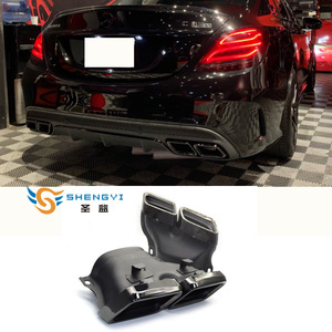 1 pair 304 stainless steel car Exhaust muffler tips black /silver fit 14-18 W205 C200 C260 C300 GLE300 with C63 diffuser(China)