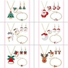 New Christmas Series Snowman Bell Elk Snowflake Christmas Tree Santa Stud Earrings Necklace Bracelet Fashion Festival Cute Chris elk snowflake geometric print christmas hoodie