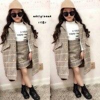 2Pcs Autumn Winter Children Clothing Sets Girl Fall Outfit Kids Plaid Woolen Coat+Skirt Baby Girl Tracksuit Kids Clothing Sets