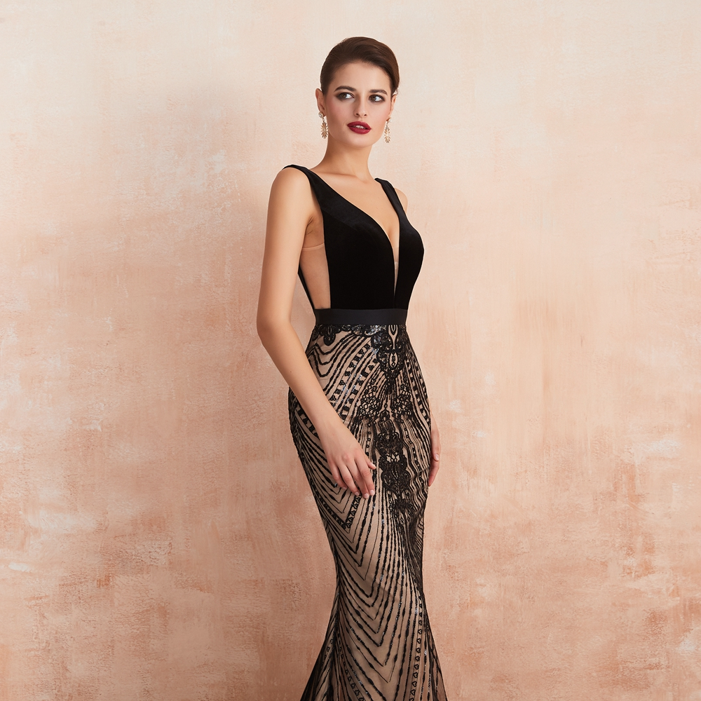 Elegant Black Slit Lace See Through Bodycon Long Evening Dress 7