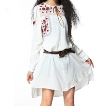 New autumn irregular dress, retro embroidered long-sleeved cotton and hemp shirt, fashion trend style