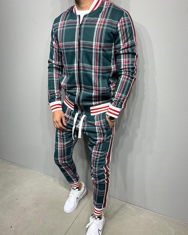 Мужской повседневный спортивный костюм, осенний костюм с 3D принтом, тонкая куртка на молнии и брюки, уличный модный сетчатый спортивный кос...