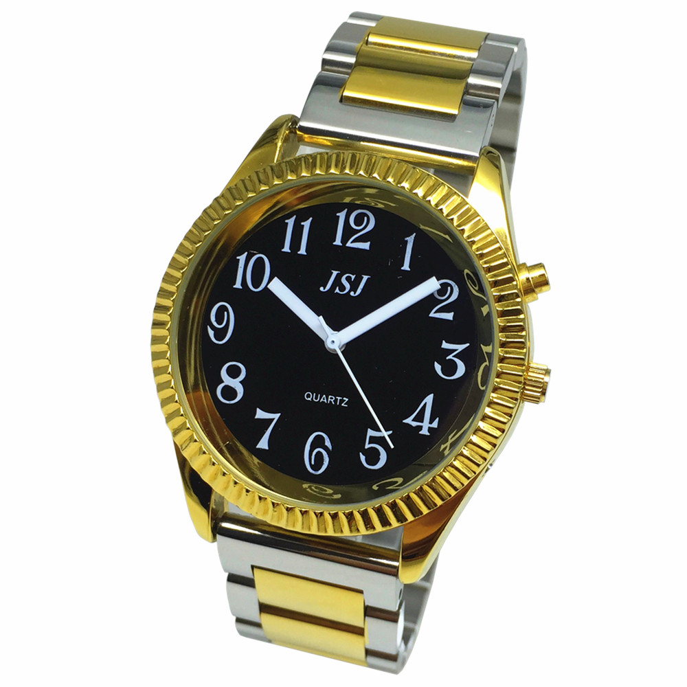 French Talking Watch With Alarm Function, Talking Date And Time,Black Dial, Folding Clasp, Golden Case TAF-305